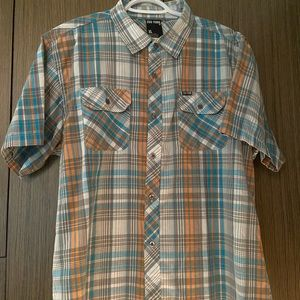 Men's XL Zoo York short sleeve shirt orange teal